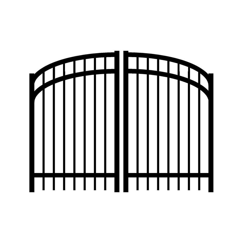 Jerith Jefferson 6 ft. W x 4.5 ft. H Double Drive Aluminum Black Arched Gate - DISCONTINUED