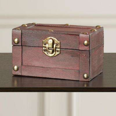 5 in. W x 3 in. D x 3 in. H Wood Small Mini Treasure Chest