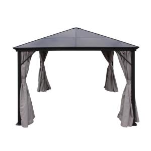 9.83 ft. x 9.83 ft. Black Aluminum Canopy Gazebo with Water-Resistant Fabric Curtains
