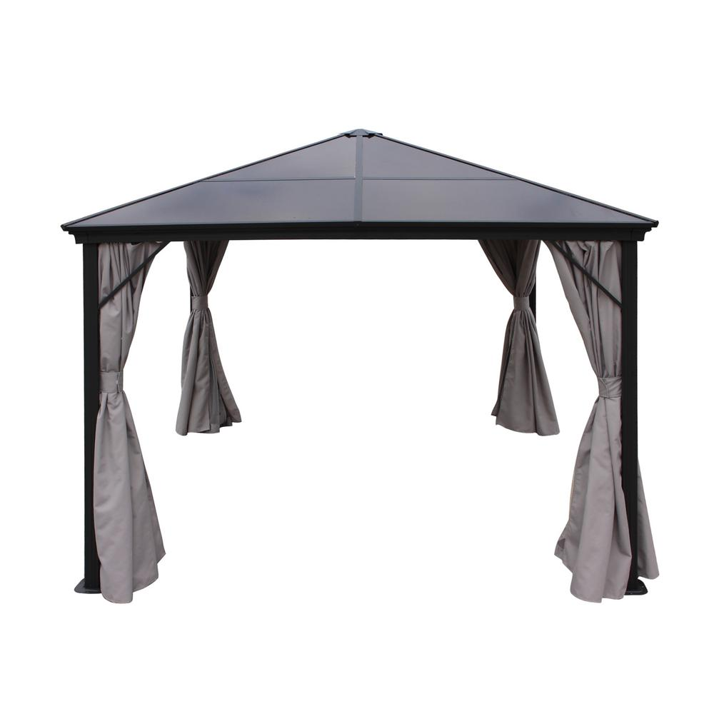 9.83 ft. x 9.83 ft. Black Aluminum Canopy Gazebo with Water-Resistant