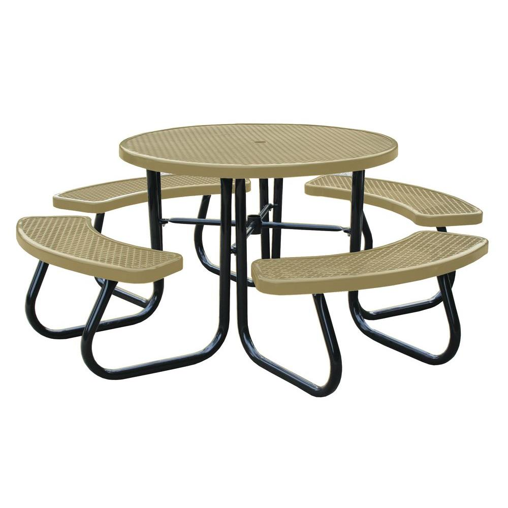 46 in. Tan Picnic Table with Built-In Umbrella Support