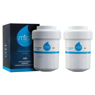 Mist MWF Compatible with GE MWF Smartwater, MWFP, GWF, Kenmore 469991 Refrigerator Water Filter Replacement (2-Pack)