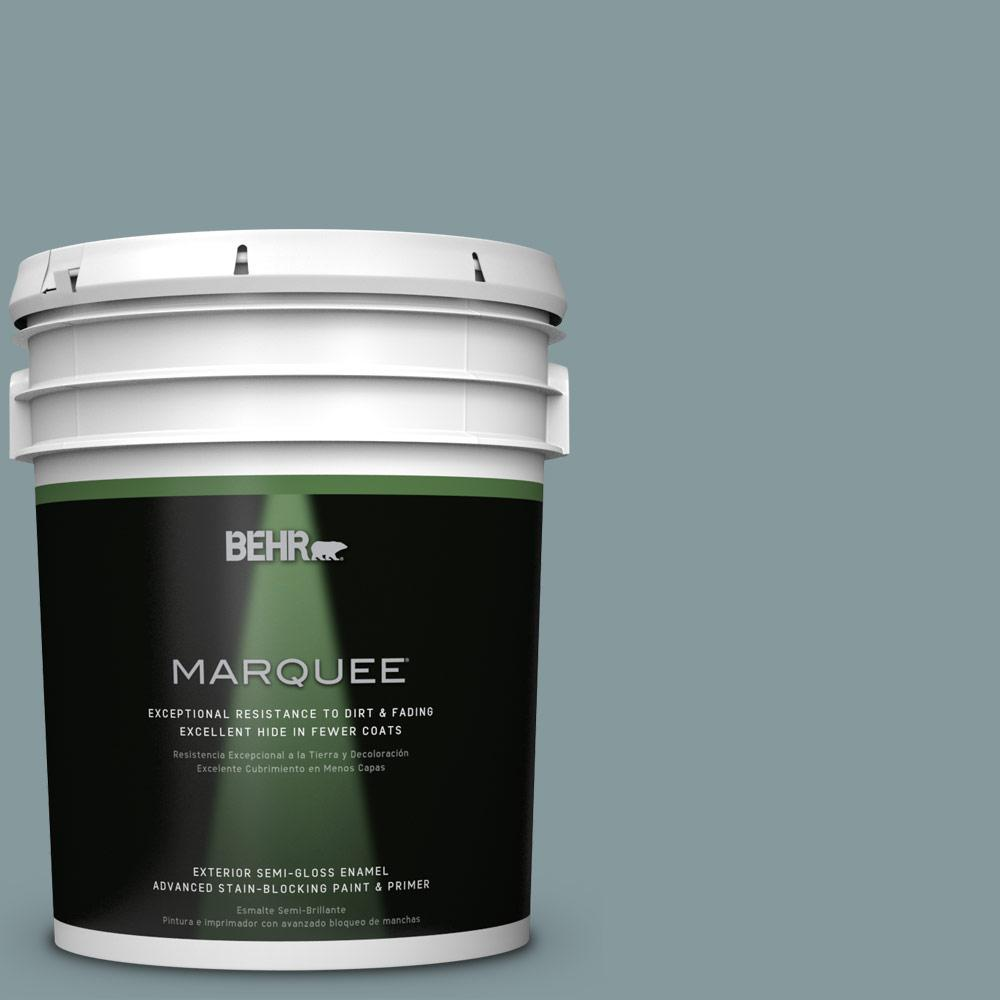 BEHR MARQUEE 5-gal. #ECC-65-3 Teal Wave Semi-Gloss Enamel Exterior Paint