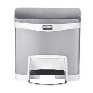 white stainless steel front step trash can