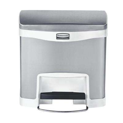 Slim Jim Step-On 4 Gal. White Stainless Steel Front Step Trash Can