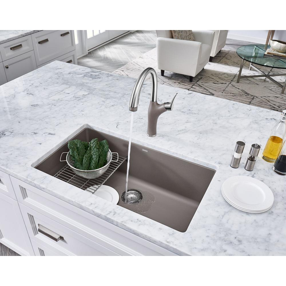 Blanco PRECIS Undermount Granite Composite 32 in. Single Bowl Kitchen Sink  in Truffle