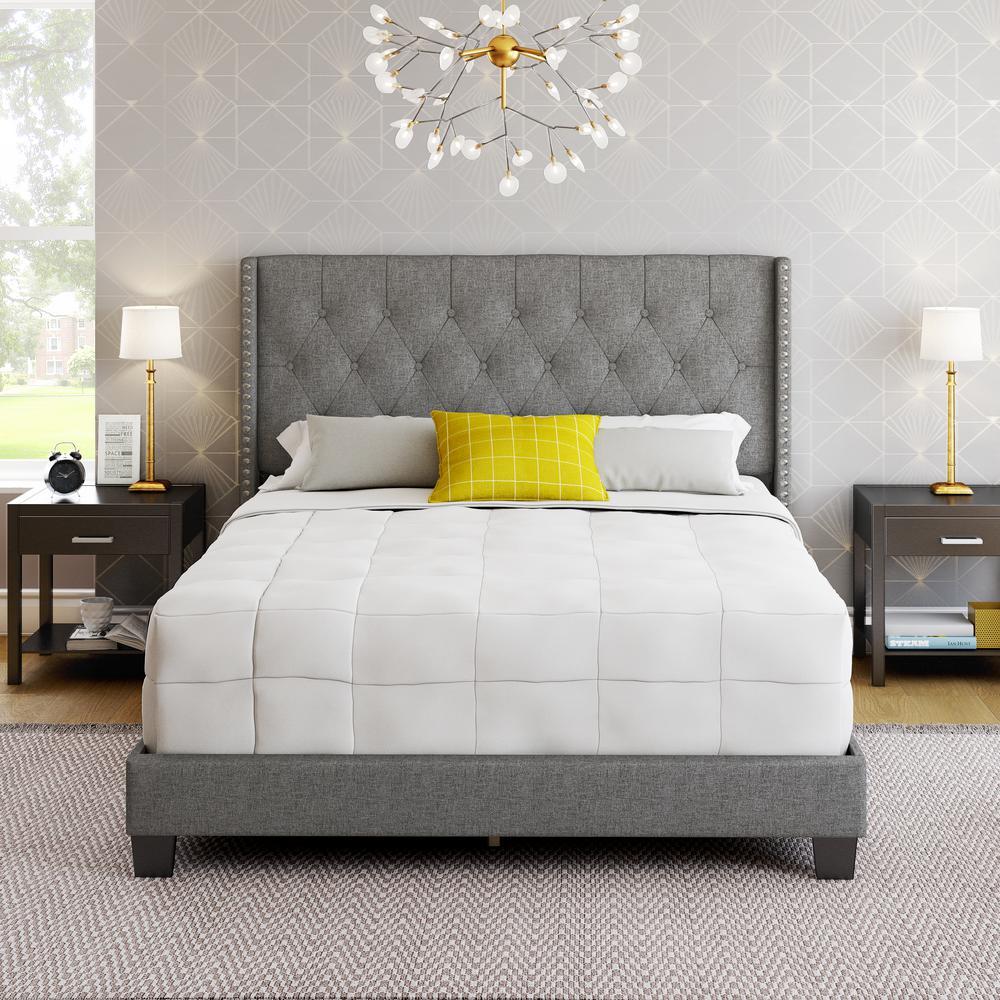 Marlo Grey Linen King Upholstered Platform Bed Frame