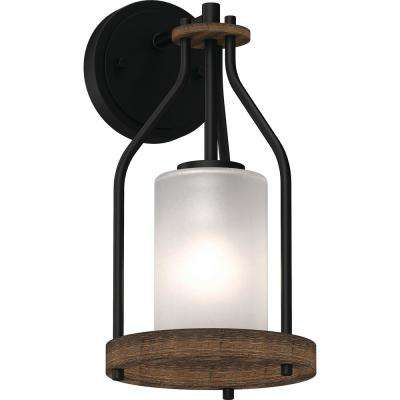 Emery 1-Light 5 in. Walnut and Black Indoor Vanity Wall Sconce or Wall Mount with Frosted Glass Cylinder Shade