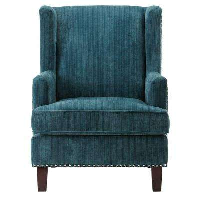 Ashton Denali Dark Cerulean Velvet Arm Chair