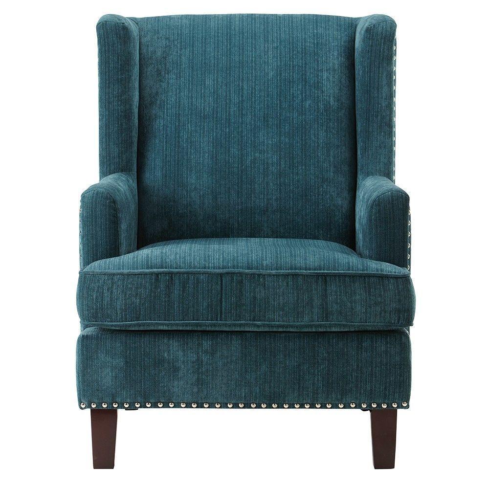 Charmant Linon Home Decor Ashton Denali Dark Cerulean Velvet Arm Chair