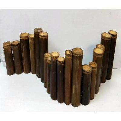 48 in. L Big Poles Brown Bamboo Staggered Top Edging