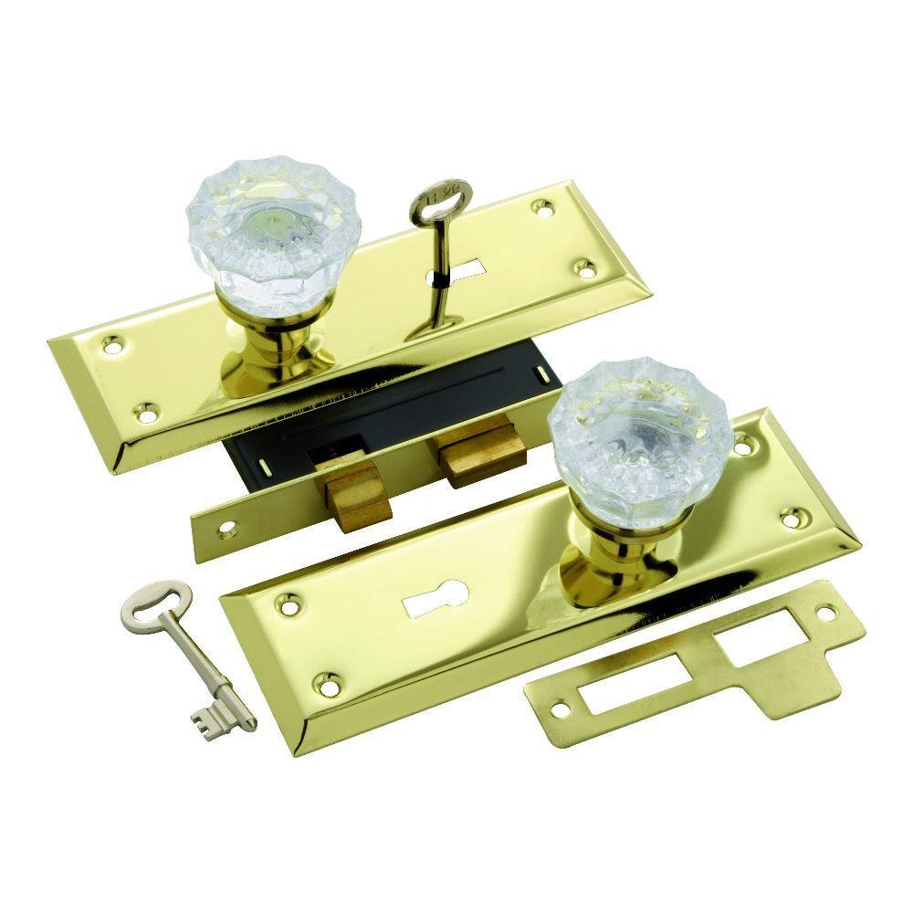 Polished Brass Keyed Glass Mortise Lockset