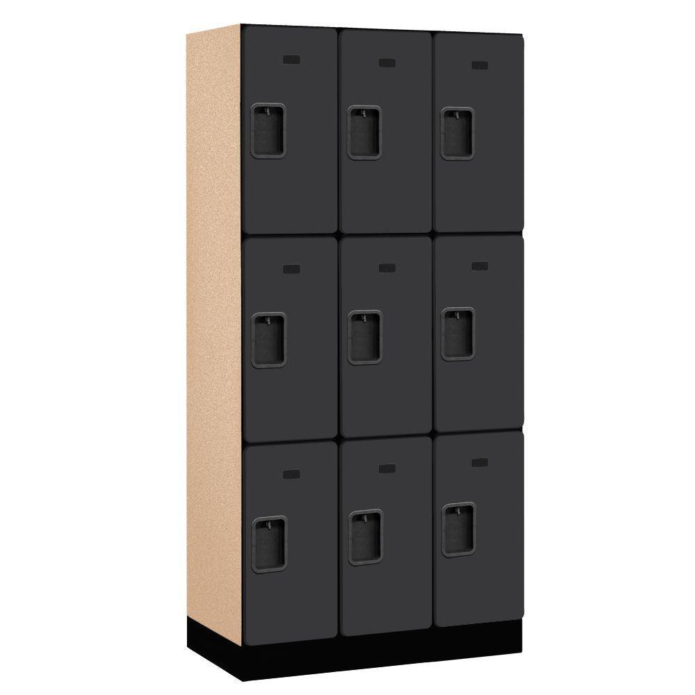 33000 Series 36 in. W x 76 in. H x 18 in. D 3-Tier Designer Wood Locker in Black