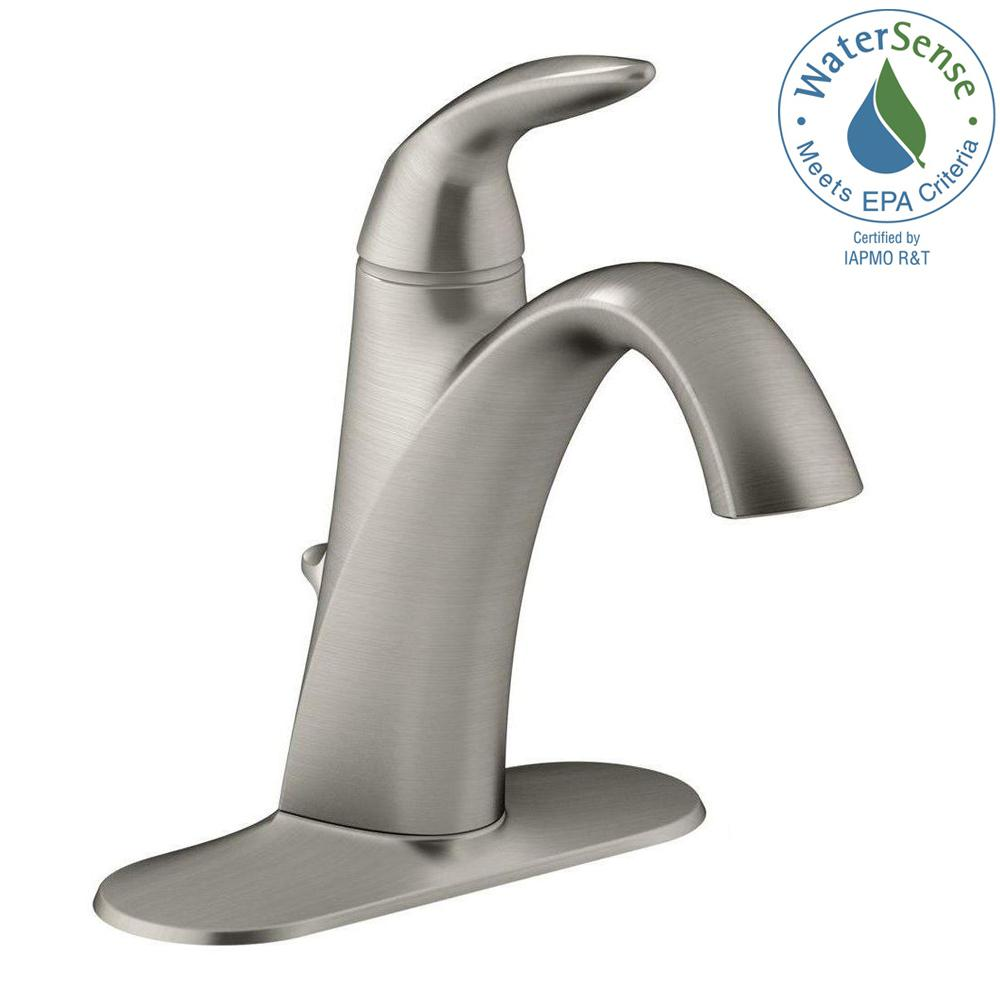 kohler alteo single hole single handle mid arc watersaving bathroom faucet in vibrant brushed