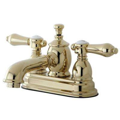 Heirloom 4 in. Centerset 2-Handle Bathroom Faucet in Polished Brass