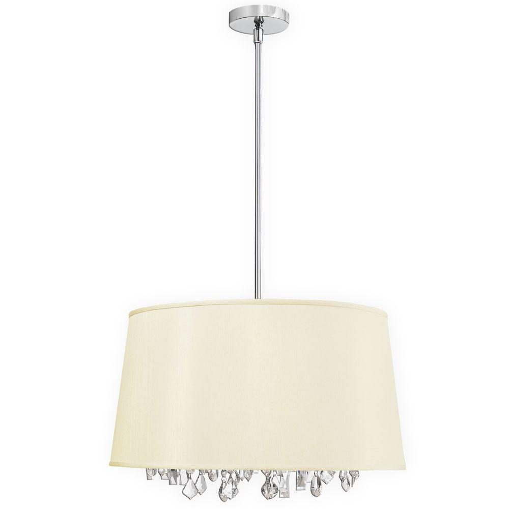 Radionic Hi Tech Baroness 6-Light Polished Chrome Crystal Chandelier with Ivory Shade