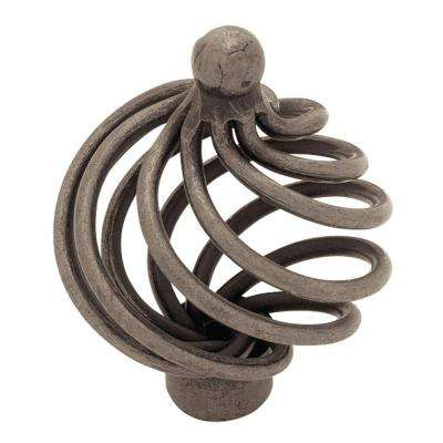 Swirl 1-5/8 in. (42mm) Antique Pewter Large Wire Ball Top Cabinet Knob