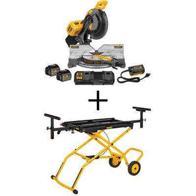 FLEXVOLT 120-Volt MAX Lithium-Ion Cordless Brushless 12 in. Miter Saw w/ AC Adapter, Batteries, Charger and Bonus Stand