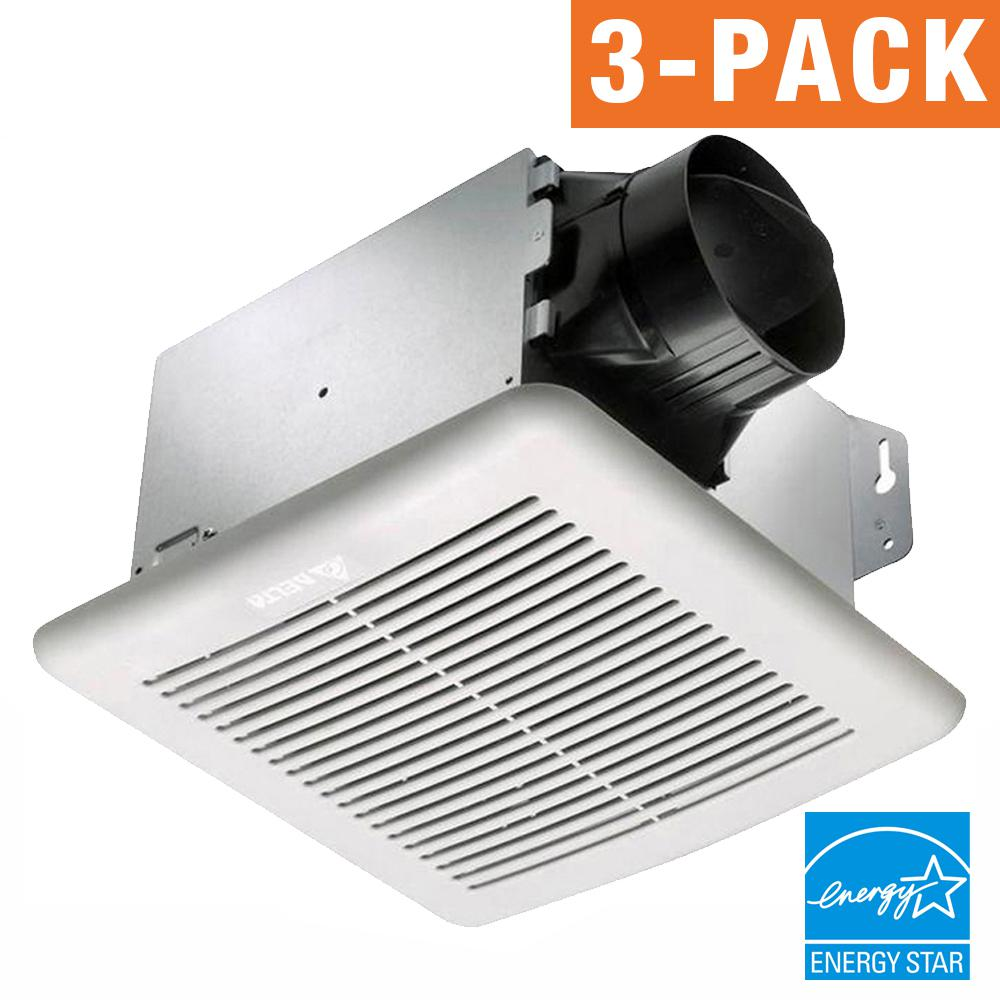 Delta Breez GreenBuilder Series 80 CFM Wall or Ceiling Bathroom Exhaust Fan, ENERGY STAR (3-Pack)