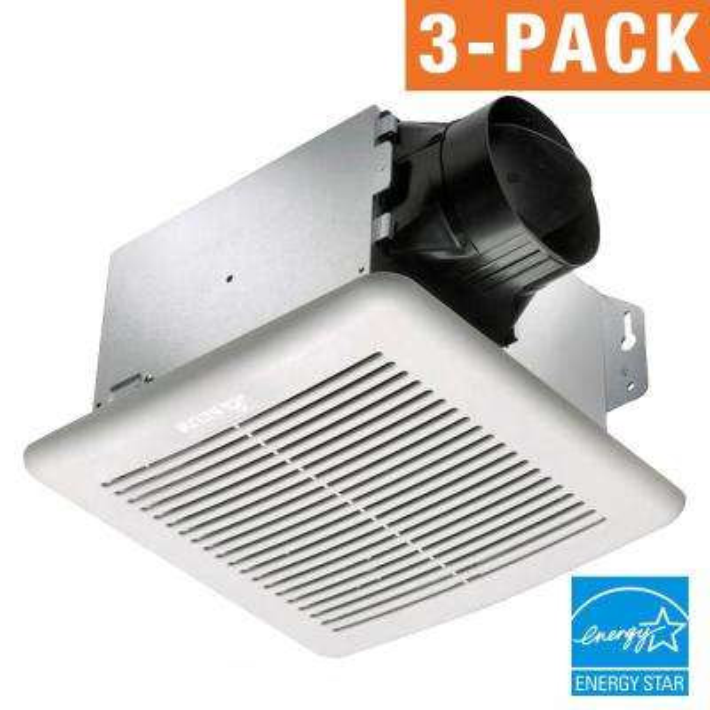 GreenBuilder Series 80 CFM Wall or Ceiling Bathroom Exhaust Fan, ENERGY STAR (3-Pack)