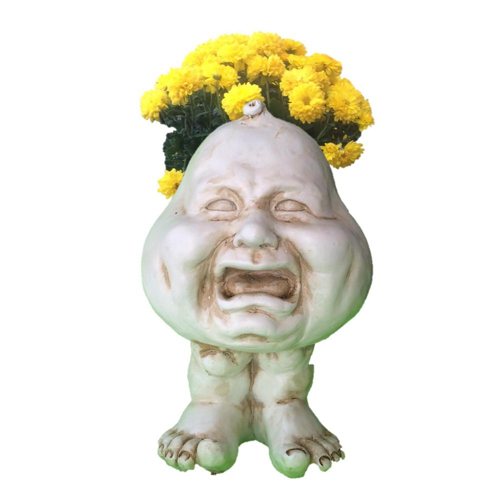 12 in. Antique White Crybaby Muggly Planter Statue Hold 4 in.