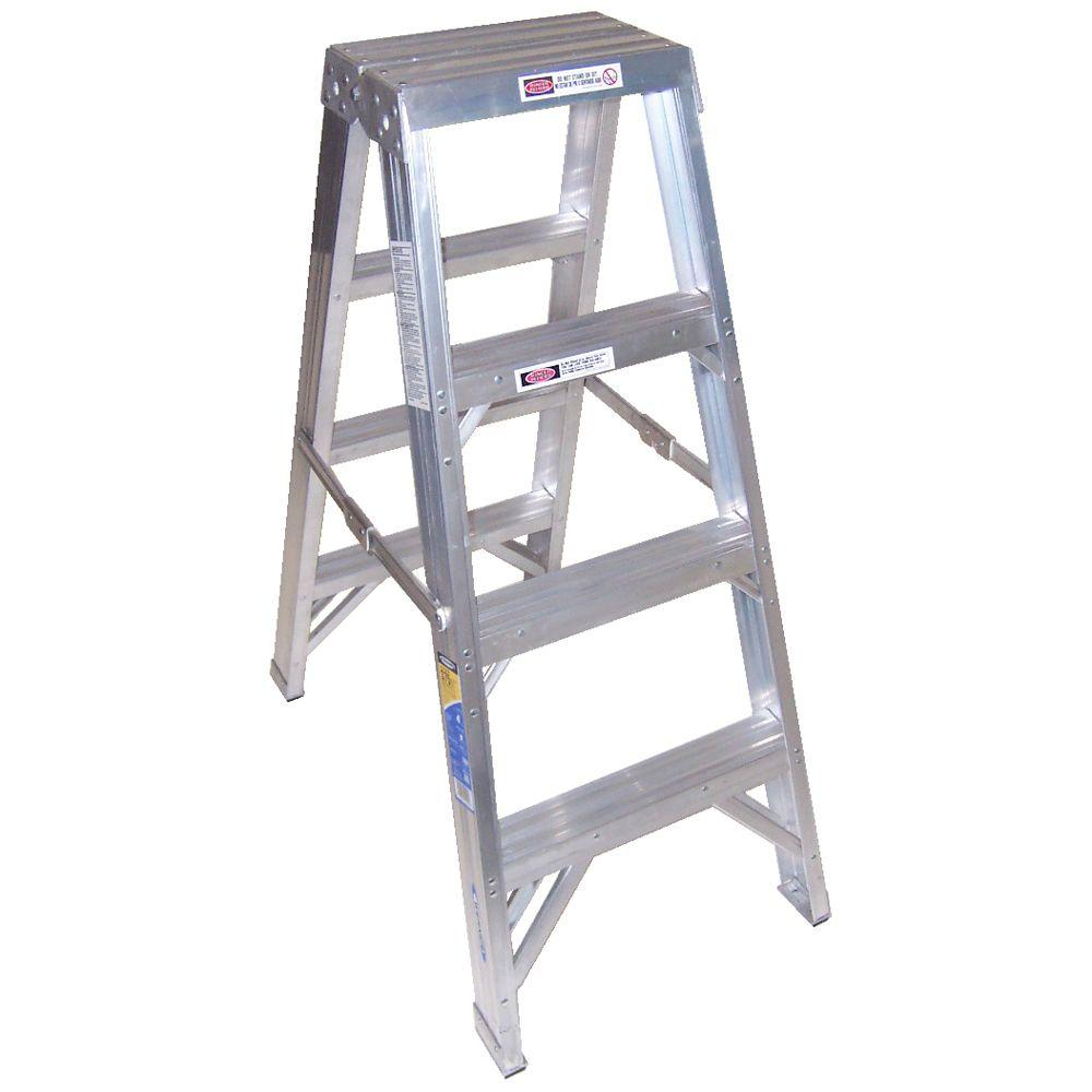 Werner 4 Ft Aluminum Twin Step Ladder With 375 Lb Load