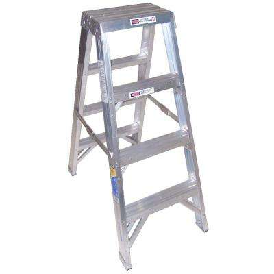 4 ft. Aluminum Twin Step Ladder with 375 lb. Load Capacity Type IAA Duty Rating