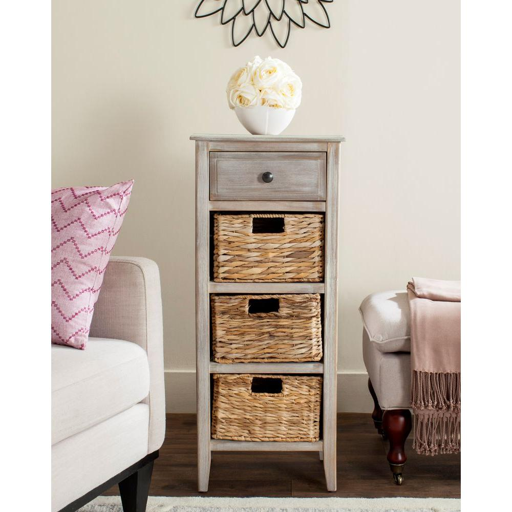 Side table with drawer and shelf - Safavieh Michaela Vintage White Storage Side Table Amh5744e The Home Depot