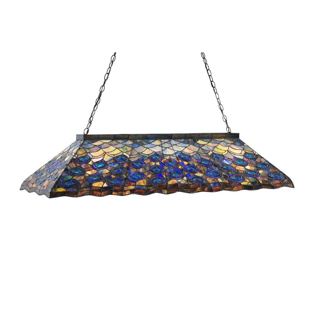 Illumine 9 Light Peacock Oblong Pendant