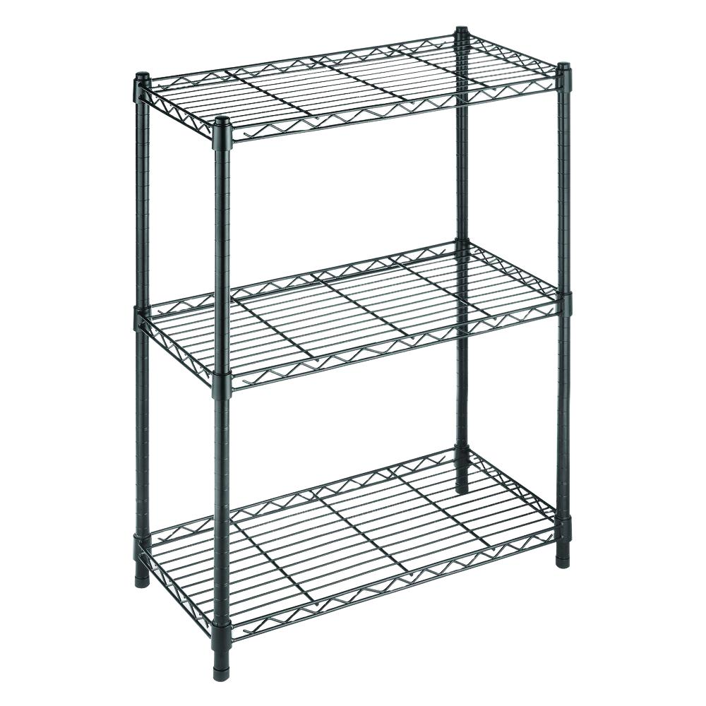 HDX 3-Tier Wire Garage Storage Shelving Unit in Black (23 in. W x 30 in. H x 13 in. D)