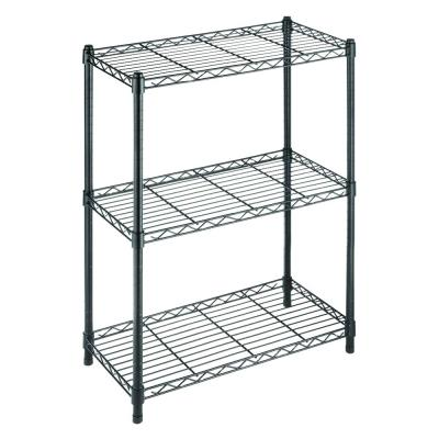 30.3 in. H x 24 in. W x 14 in. D 3-Shelf Wire Black Shelving Unit