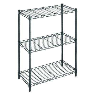 3-Tier Wire Garage Storage Shelving Unit in Black (23 in. W x 30 in. H x 13 in. D)