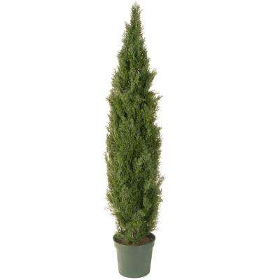 72 in. Artificial Arborvitae Tree in Dark Green Round Growers Pot