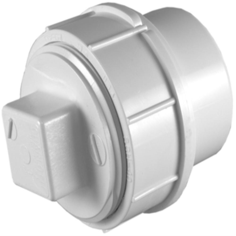 3 in. PVC Sch. 30 Spigot Thin-Wall Fitting Cleanout Adapter with