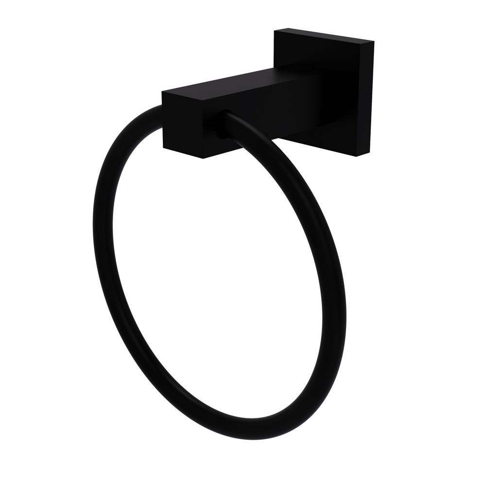 Allied Brass Montero Collection Towel Ring in Matte Black