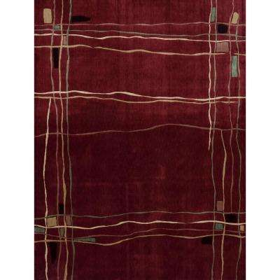 Parallels Red 2 ft. 3 in. x 3 ft. 9 in. Area Rug