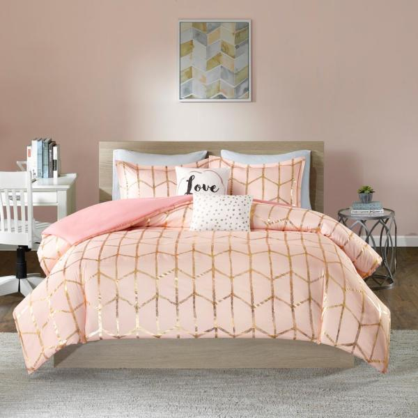 Intelligent Design Khloe 5-Piece Blush/Gold King/California King Geometric Duvet