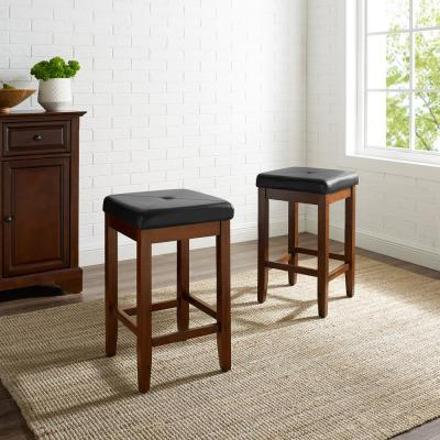 Crosley 24 in. Mahogany Upholstered Square Seat Bar Stool WIth Black Cushions (Set Of Two)