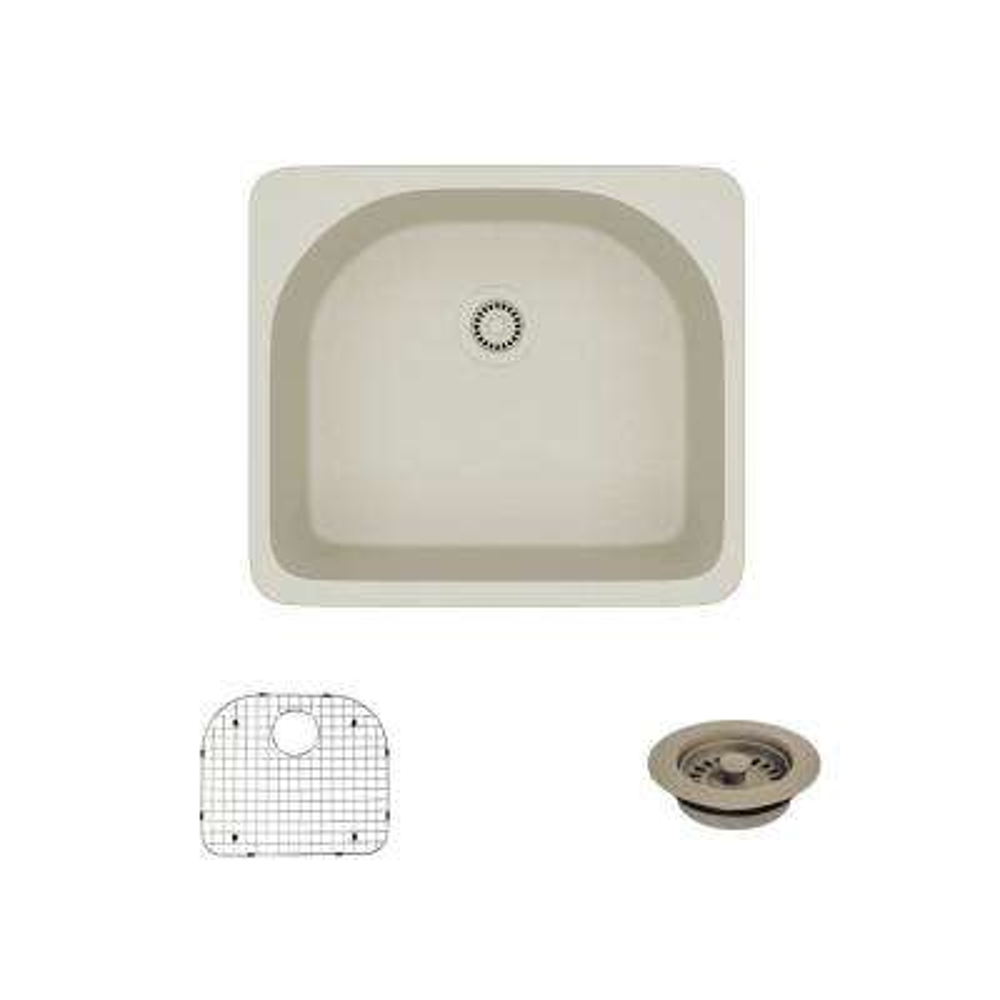 Drop-In Quartz 25 in. Single Basin Kitchen Sink in Concrete