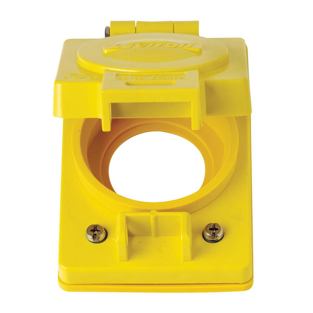 Leviton 1-Gang Wetguard Corrosion Resistant Locking Flip Lid for 30 Amp Outlet , Yellow