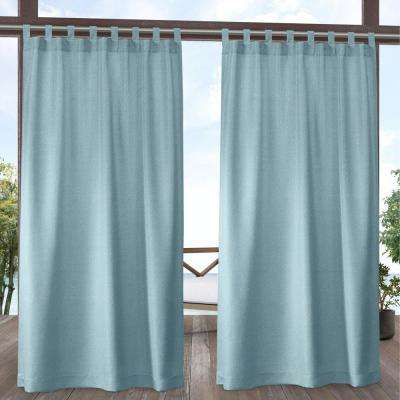 Biscayne Pool Blue Light Filtering Tab Top Curtain Panel 54 in. W x 96 in. L (2 Panels)