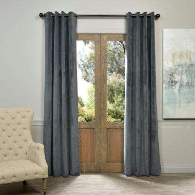 Blackout Signature Natural Grey Grommet Blackout Velvet Curtain - 50 in. W x 120 in. L (1 Panel)