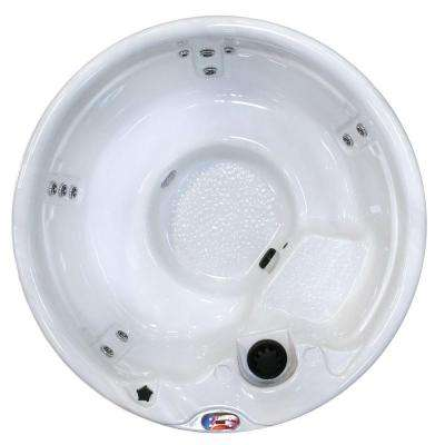 5-Person 11-Jet Round Sterling Silver Spa with Multi Color Spa Light