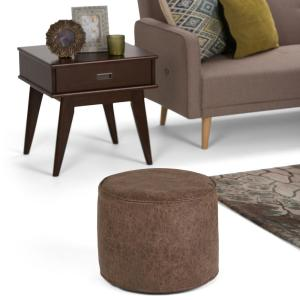 Awesome Simpli Home Kearney Transitional Round Pouf In Distressed Alphanode Cool Chair Designs And Ideas Alphanodeonline