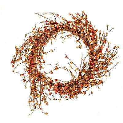 16 in. Mixed Berry Wreath in Orange
