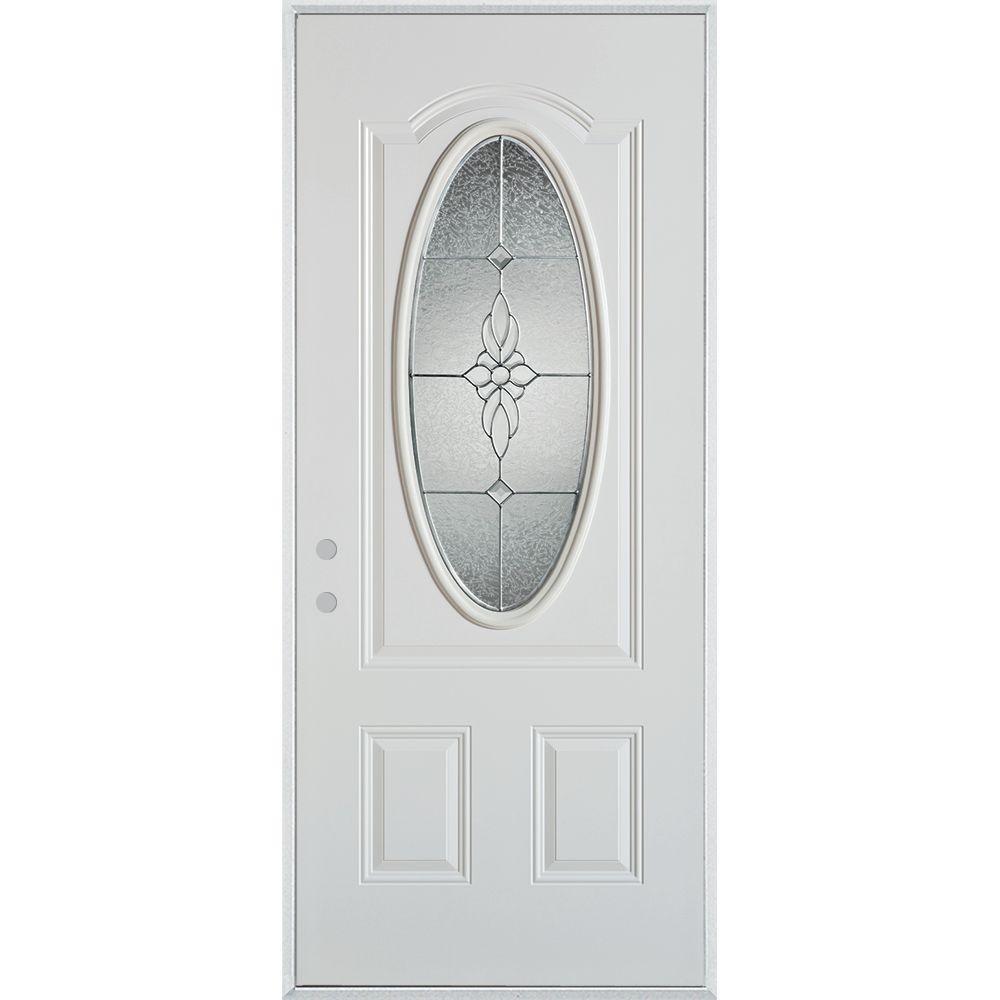 Stanley Doors 36 in. x 80 in. Victoria Classic Zinc 3/4 Oval Lite 2-Panel Prefinished White Steel Prehung Front Door
