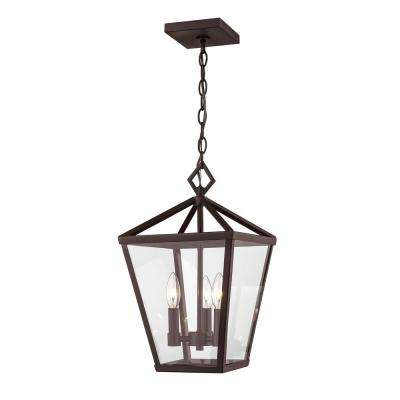 3-Light 10 in. Wide Powder Coated Bronze Outdoor Wall Lantern Taper Candle Pendant