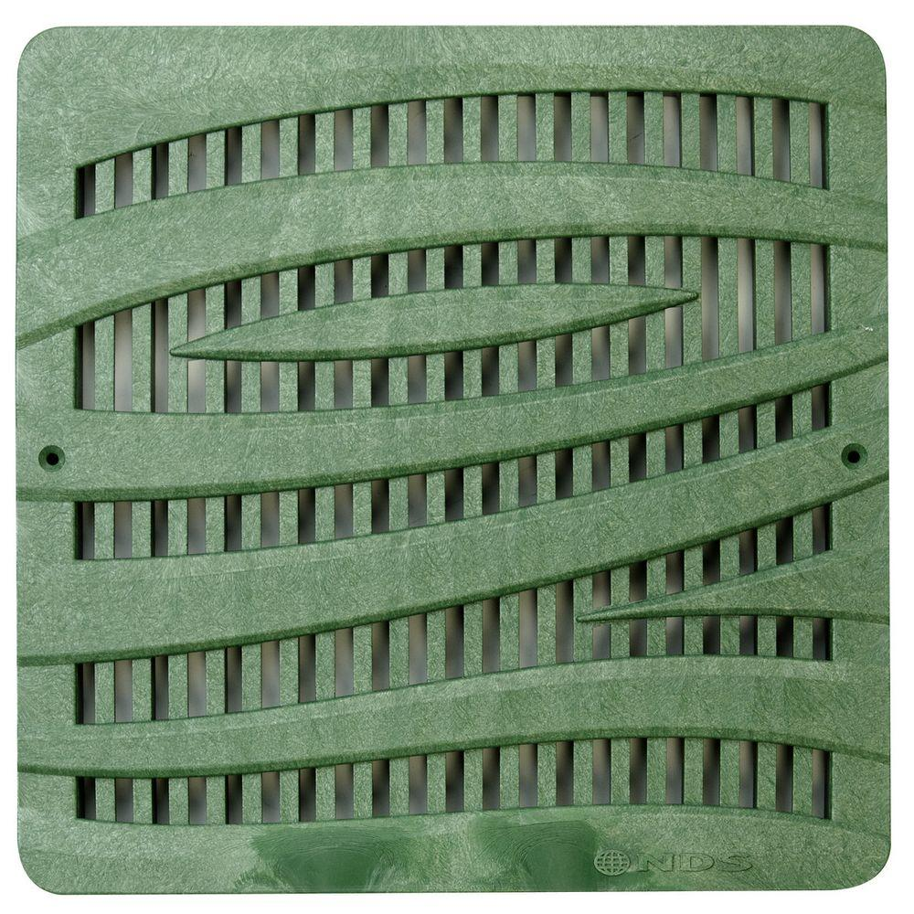 12 in. Plastic Wave Design Square Grate in Green