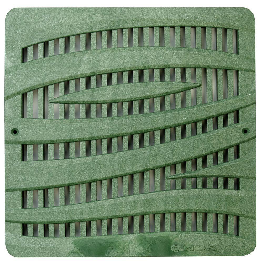 12 in. Square Decorative Grate-Wave in Green