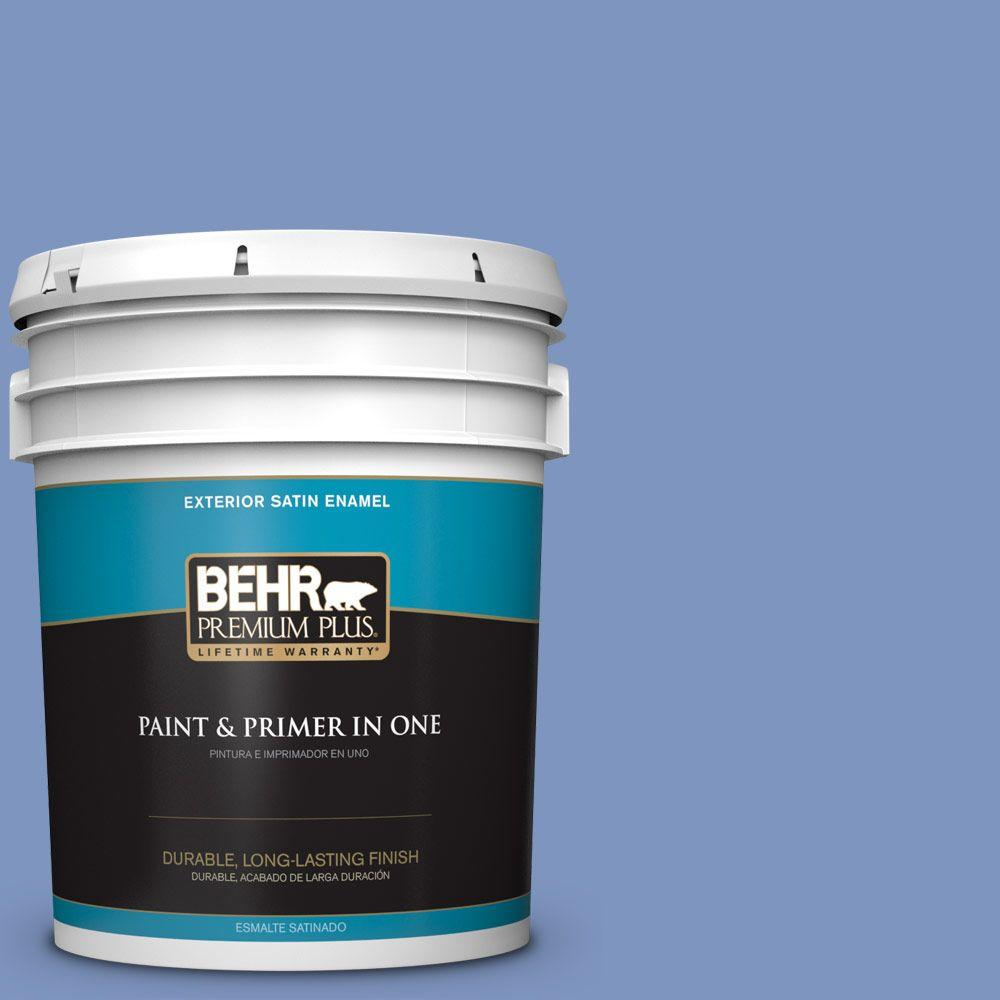 BEHR Premium Plus 5-gal. #M540-5 Blue Satin Satin Enamel Exterior Paint